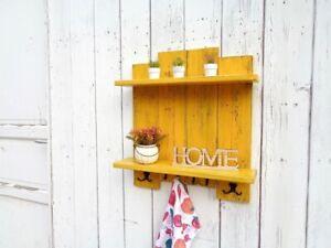 Mensola da parete muro gialla legno due ripiani con ganci Scaffale cucina salone
