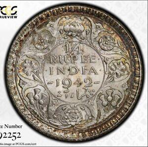 1942C British India 1/4 rupee. PCGS MS65. Toned BU