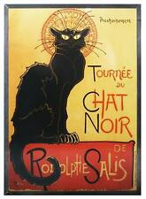 "STEINLEN ""LE CHAT NOIR"" BLACK CAT FRANCE FRENCH STAINED ART GLASS PANEL DISPLAY"