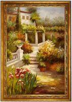Ölbild mediterrane südlicher Hauseingang Blumen ÖLGEMÄLDE HANDGEMALT F:60x90cm