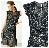 NEW Reiss June Lace Embroidered Dress Navy Cocktail Wedding Races RRP £250 4 6 8