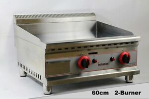 2 Burner Commercial 600mm  LPG Ready, Or Natural Gas Griddle, Chrome Plate