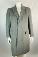 VTG Black Diamond Large Mens 100% Cashmere Over Coat Trench Coat Gray