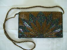 Vintage 50s heavy beaded deco envelope clutch shoulder bag