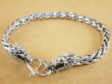 """New Oxidized Bali Style Dragons Scales 925 Sterling Silver Bracelet 7.75"""" 29g"""