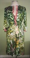 New Designer Ken Scott Floral Vibrant Dress Silk Ruffle Trim Sz 44 Medium Green