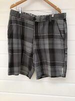 MAMBO Mens Grey Plaid Check Casual Cotton Shorts - Size 38 / XL
