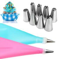 8/10/16×Reusable Silicone Icing Piping Cream Pastry Bag Cake DIY Decorating Tool
