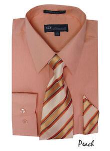 Men's Dress Shirt + Matching Tie + Handkerchief Set 25 Unique Colors Size 15~20