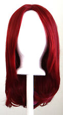 17'' Long Straight No Bangs Crimson Red Cosplay Wig NEW
