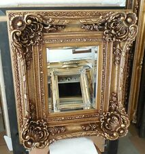 "Large Louis XV Wood/Resin ""28x32"" Rectangle Beveled Framed Wall Mirror"