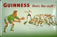 Guinness Rugby Pancarte en Tôle Signe Métal 3D Relief Voûté Étain 20 X 30 CM