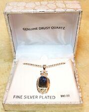 Drusy Quartz Blue Silver Plated Womens Pendant Necklace