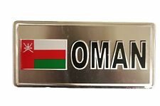 OMAN COUNTRY FLAG-SILVER LICENSED STICKER FLAG PLATE..SIZE: 6 X 3 INCH
