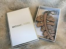 NIB MICHAEL MICHAEL KORS CRYSTAL LEATHER CHARMS FERN KEY CHAIN FOB IN BALLET