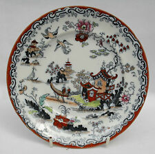 Antique Bovey Tracey Pottery Ironstone China Plate Japanese Willow Pattern RARE