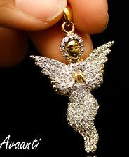 Men Women 14K Gold Tone Lab Diamond Hip Hop Praying Hands Angel Pendant Charm