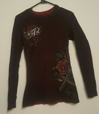 Sinful by Affliction REVERSIBLE Roses Wings Guns Womens Sweater Pullover Shirt