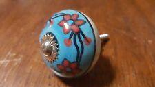 Hand-made Hand-painted Ceramic Drawer Knob - Blue with pink flowers - S7