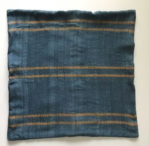 West Elm Blue Gold Yellow Stripe Pillow 18 Sham Throw Silk Cotton Textured