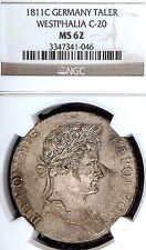German States Westphalia 1811 C Taler Coin Thaler NGC MS 62 F.Stg Deutschland