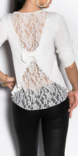 Sexy 2 in1 shirt suéter con punta u. bucles blanco 3/4 brazo transparente 34 36 38