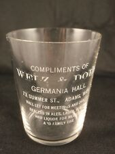 Pre-Pro Welz & Doll Germania Hall, Adams, Massachusetts, Shot Glass