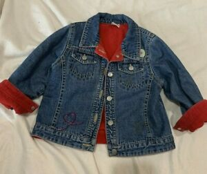 Little Girls Jean denim Jacket Embroided Next UK fleece lined 3T patches