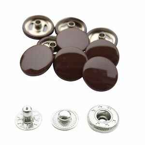 15mm Color Caps Snap Fasteners 4 Part Silver S Spring Press Studs for DIY Crafts