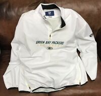 REEBOK On Field Green Bay PACKERS Football White Windbreaker Pullover Mens 3XL