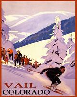 POSTER WINTER SPORT SKI VAIL COLORADO MOUNTAINS SKIING VINTAGE REPRO FREE S/H