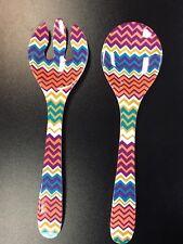 Melamine ZIGZAG Salad Fork & Spoon Serving Utensils Set