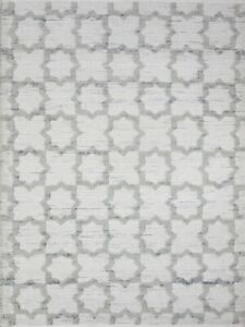 4' x 6' Rug | Hand Dhurrie  Wool White Gray  Area Rug
