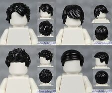 LEGO - 4x Male Hair Lot - Black Short Tousled Side Part Spiked Boy Wig Head
