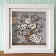 Personalised Box Frame Family tree Scrabble Christmas New Home Diamantes Bling