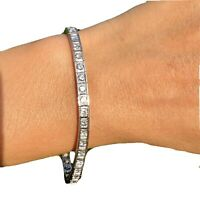 $7800 14K White Gold 3ctw G-H Diamond Straight Line Vintage Bracelet Certified