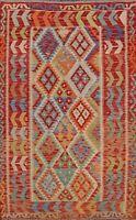 Southwestern Reversible Kilim Area Rug Vintage Style Hand-woven Pastel Color 5x7