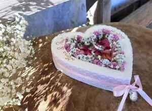 Hochzeit Ringkissen Herz Mille Fleurs Spitze weiß rosa für Eheringe mit Namen