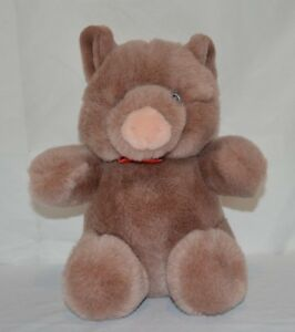 Gund Stuffed Farm Animal Pig Plush Vtg 80s Toy 9in Pink Mauve with Red Bowtie