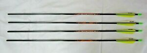 (4) - Beman ICS Bow Hunter 400 Carbon Arrows 8.4 gpi Yellow & White Flights