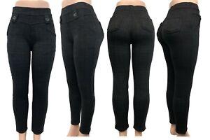 Fashion Women Winter Warm Pull Up Plaids & Checks Fleece Lined Pocket Pants 2838