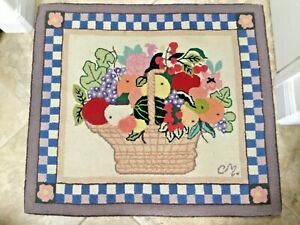 """CLAIRE MURRAY ~ Nantucket Collection ~ Hand Hooked Rug ~ Fruit Basket 36"""" x 41"""""""