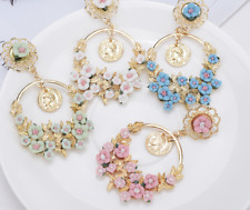 Vintage Big Flower Drop Earring Jewellery Baroque for Women Fashion