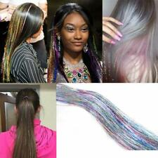 100Strands Holographic Sparkle Woman Hair Glitter Tinsel Extensions Dazzles-Us