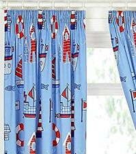 Boys Blue Nautical Themed Curtains With Boats and Lighthouses - 54s