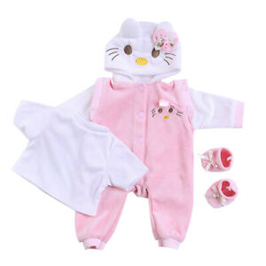 Cute Reborn Baby Dolls Outfits Set for 20-23 Inch Girls Dolls Pink Cat Clothes