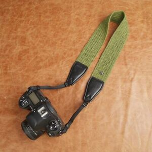 Green Wide Woven cotton strap by Cam-in