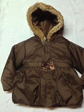 NWT Gymboree Girl Winter Coat Jacket Brown Hood Faux Fur Bow Sz 2T 3T $50
