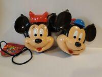 Lot of 2 Vintage Mickey Minnie Mouse Plastic Canteens Disney World Disneyland