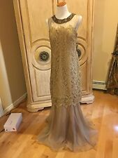 BNWT Beautiful Designer TERI JON Gold Beige Lace Gown 12  $780.00